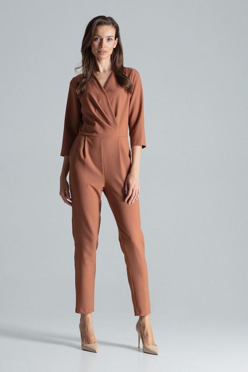 Kombinezon z kopertowym dekoltem - brązowy