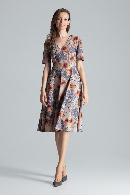 CM4695 Trapezowa sukienka midi - wzór 108