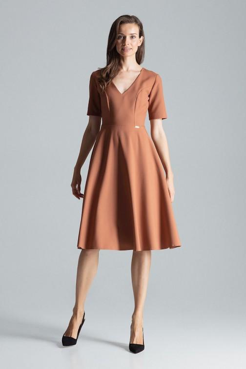 CM4695 Trapezowa sukienka midi - brązowa