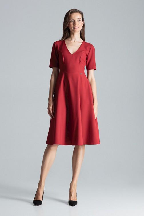 CM4695 Trapezowa sukienka midi - bordowa