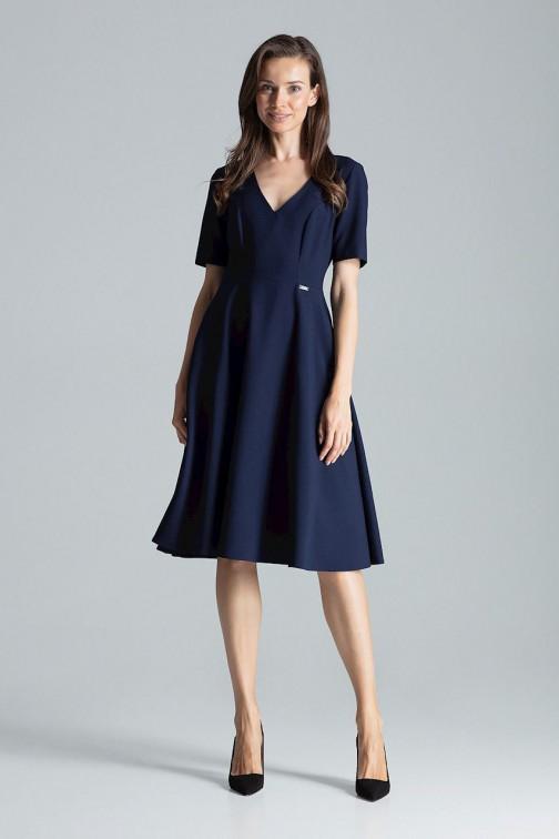 CM4695 Trapezowa sukienka midi - granatowa