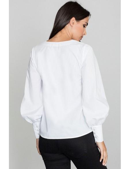 Bluzka koszulowa z bufiastymi rękawami - biała