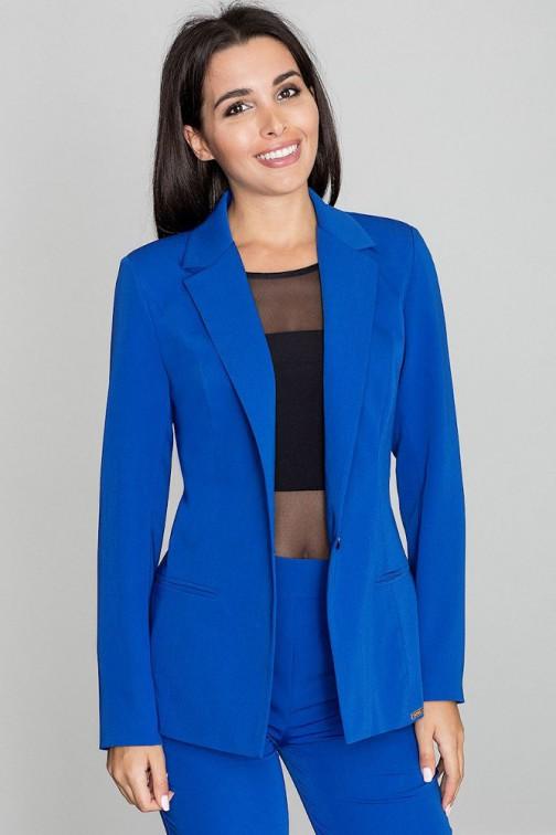CM3259 Elegancki zapinany żakiet - niebieski