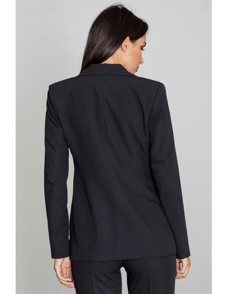 Elegancki zapinany żakiet - czarny