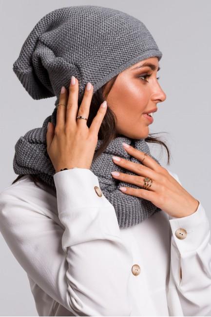 Zestaw - komin + czapka - szary