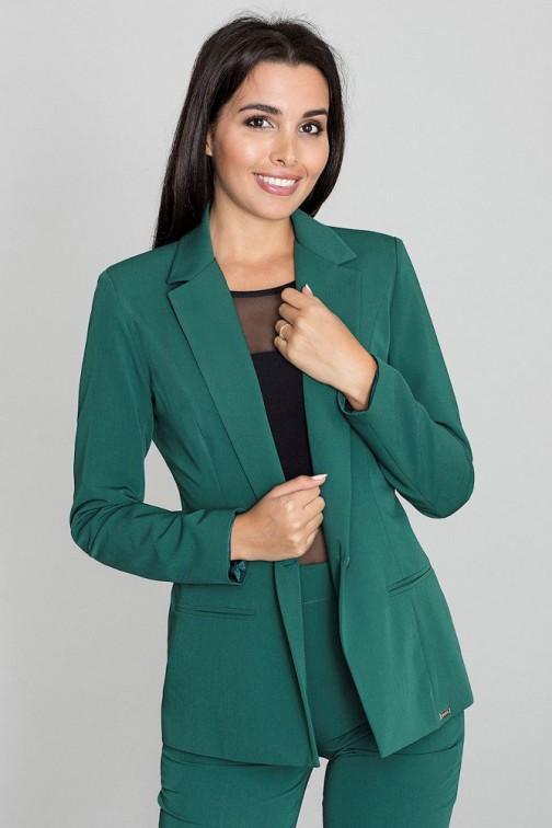 CM3259 Elegancki zapinany żakiet - zielony