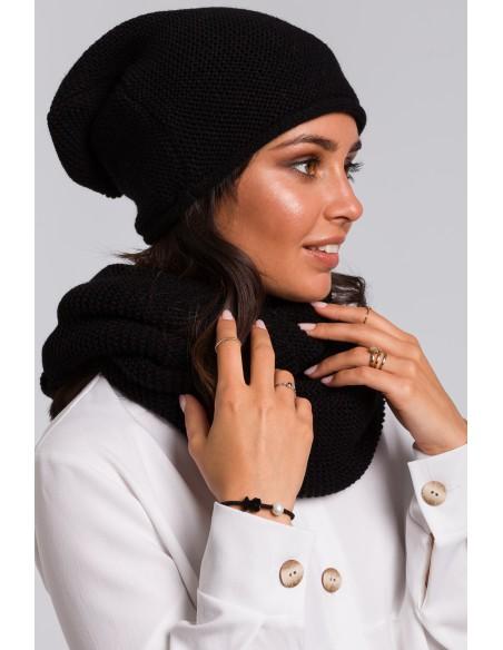 Zestaw - komin + czapka - czarny