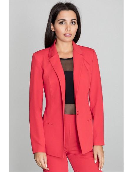 Elegancki zapinany żakiet - czerwony