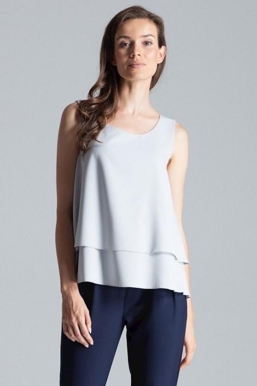 CM4701 Dwuwarstwowa bluzka na ramiączkach - szara