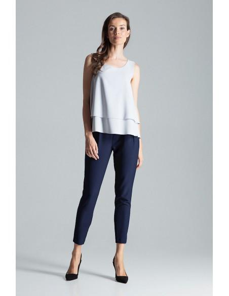 Dwuwarstwowa bluzka na ramiączkach - szara