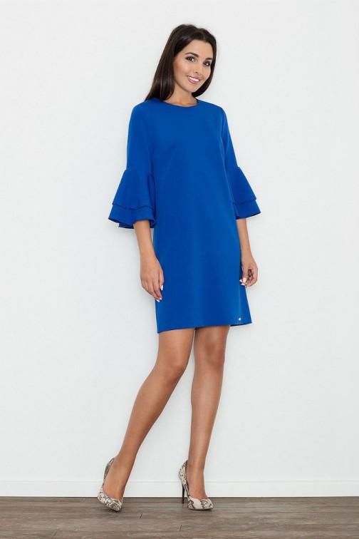 CM3261 Trapezowa sukienka z rękawami w falbany - niebieska