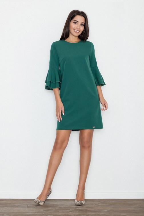 CM3261 Trapezowa sukienka z rękawami w falbany - zielona