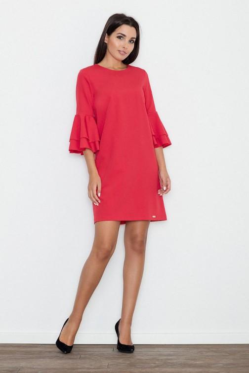 CM3261 Trapezowa sukienka z rękawami w falbany - czerwona