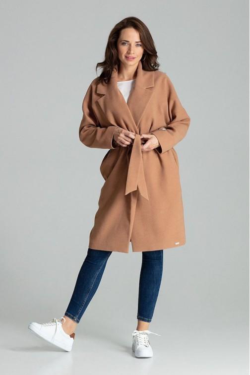 CM4705 Niezapinany płaszcz wiązany paskiem - beżowy