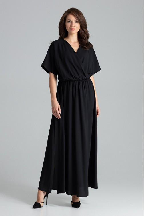 CM4706 Lekko rozkloszowana sukienka kimono - czarna