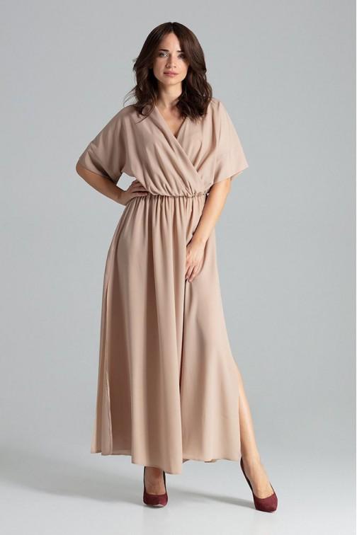 CM4706 Lekko rozkloszowana sukienka kimono - beżowa