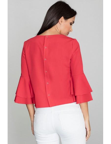 Krótka bluzka z rękawami w falbany - czerwona