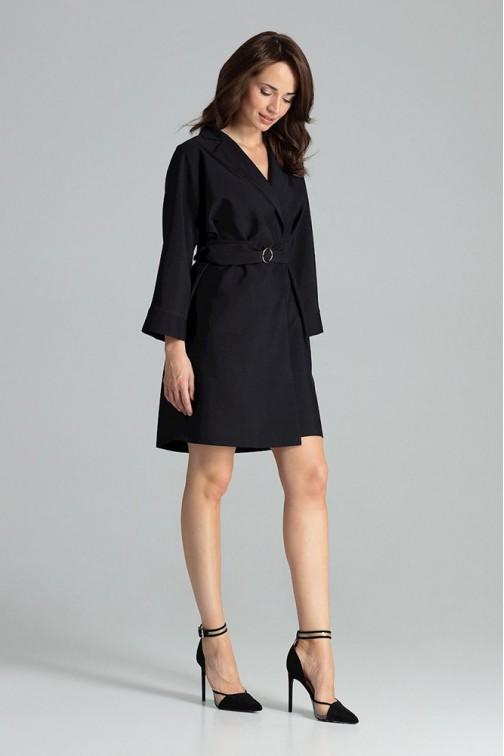 CM4709 Luźna sukienka z wiązaniem w pasie - czarna