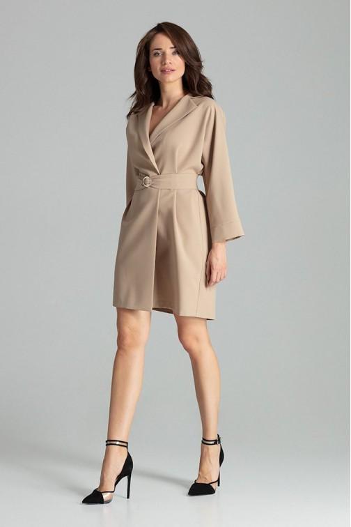 CM4709 Luźna sukienka z wiązaniem w pasie - beżowa