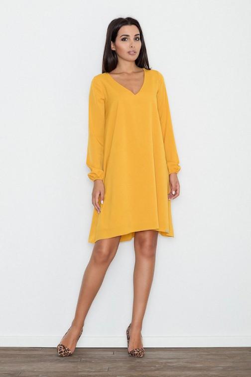 CM3263 Zwiewna trapezowa sukienka z długim rękawem - żółta