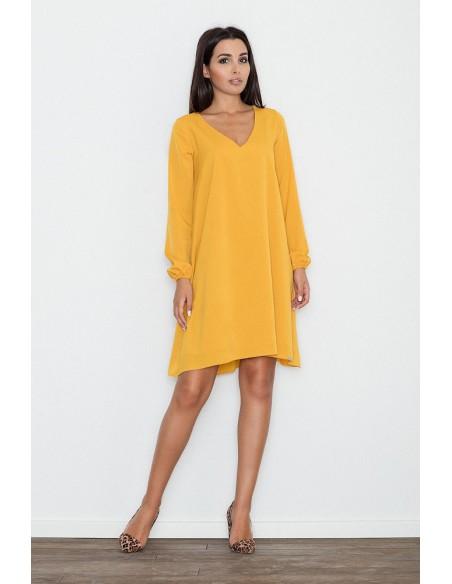 Zwiewna trapezowa sukienka z długim rękawem - żółta