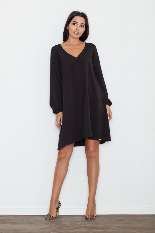 CM3263 Zwiewna trapezowa sukienka z długim rękawem - czarna