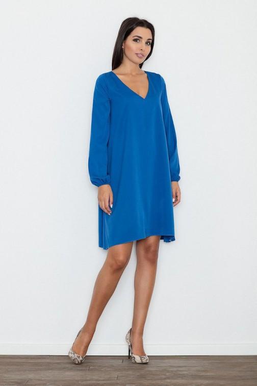 CM3263 Zwiewna trapezowa sukienka z długim rękawem - niebieska