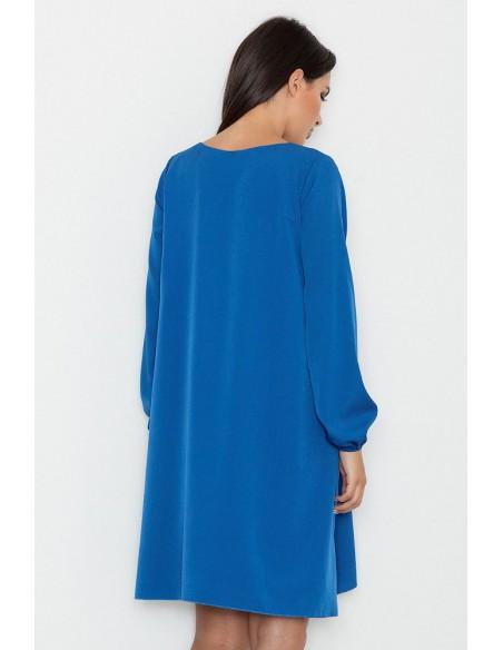 Zwiewna trapezowa sukienka z długim rękawem - niebieska