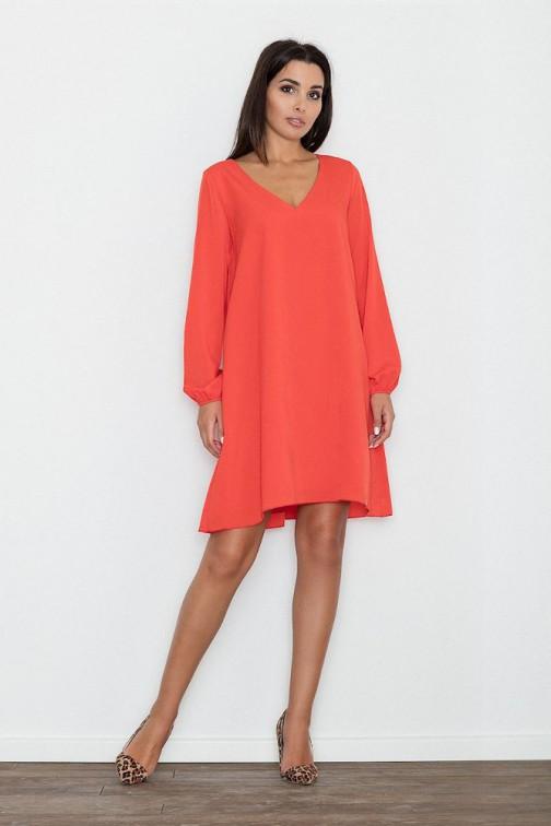 CM3263 Zwiewna trapezowa sukienka z długim rękawem - czerwona
