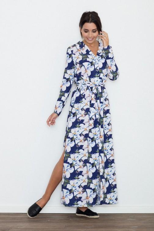 CM3264 Długa sukienka z rozcięciem w kwiaty - wzór 71