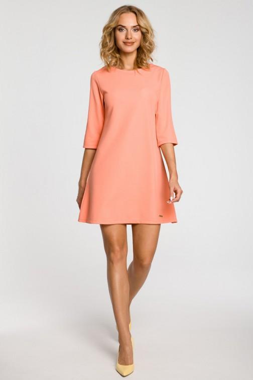 CM0286 Tunika sukienka trapezowa kokardki  - koralowa OUTLET