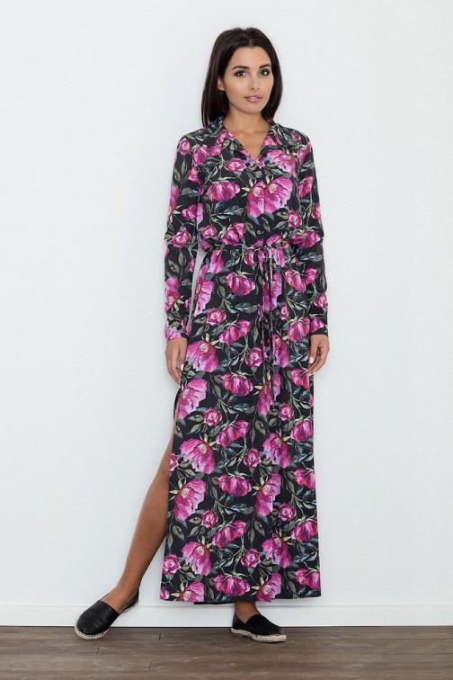 CM3264 Długa sukienka z rozcięciem w kwiaty - wzór 72