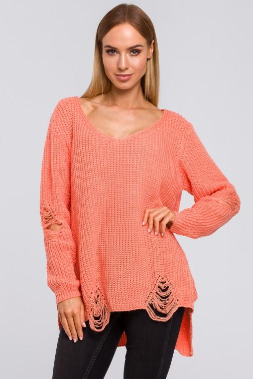 CM4806 Sweter z dziurami - brzoskwiniowy