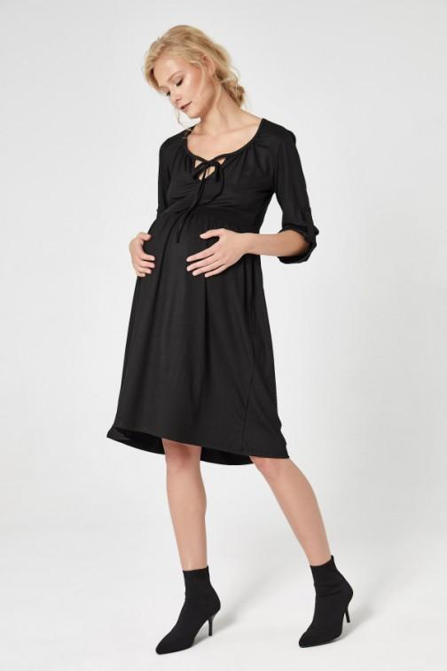 CM4725 Ciążowa sukienka z dekoltem - czarna