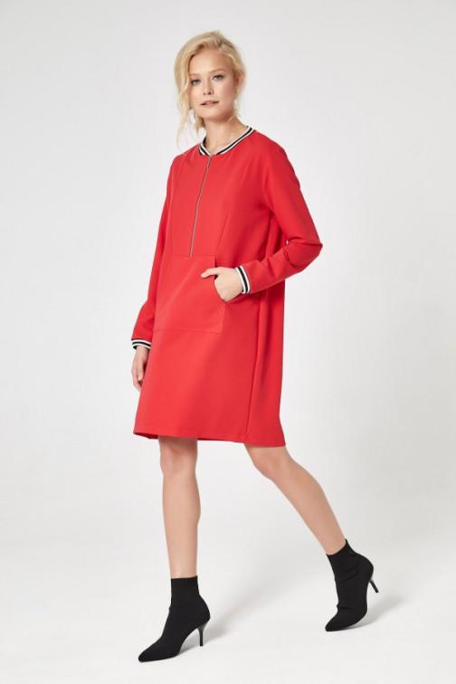 CM4732 Sportowa sukienka mini - czerwona