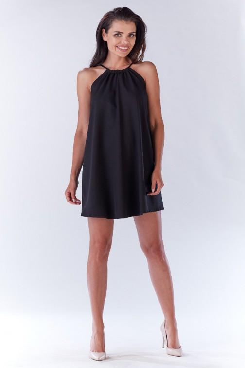 CM3277 Krótka sukienka na ramiączkach - czarna