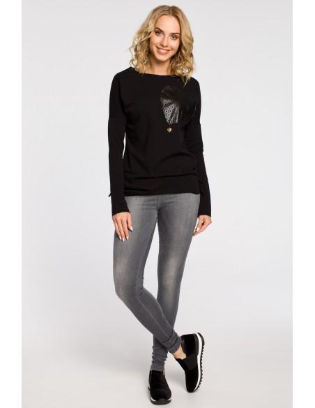 Bluza damska dresowa z ozdobny sercem - czarna