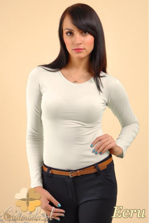 CM0009 Gładka bluzka z długim rękawem - ecru