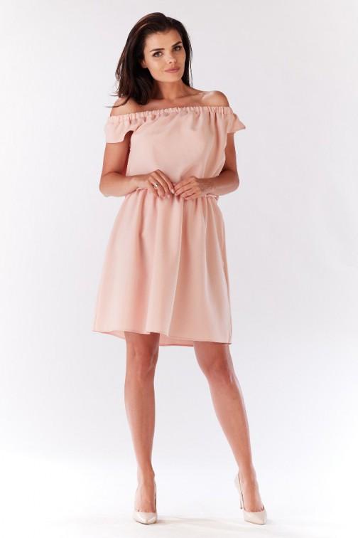 CM3279 Zwiewna sukienka na ramiączkach z marszczeniami - pudrowa