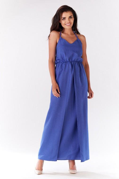 CM3280 Kobieca sukienka z rozcięciem z boku - niebieska