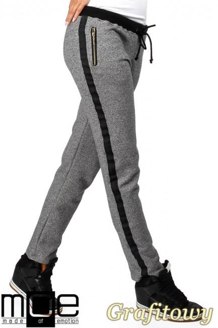 Spodnie damskie z lampasem i zameczkami - grafitowe