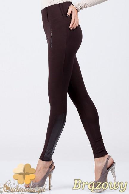 Spodnie legginsy z zameczkami i wstawkami ze skórą - brązowe