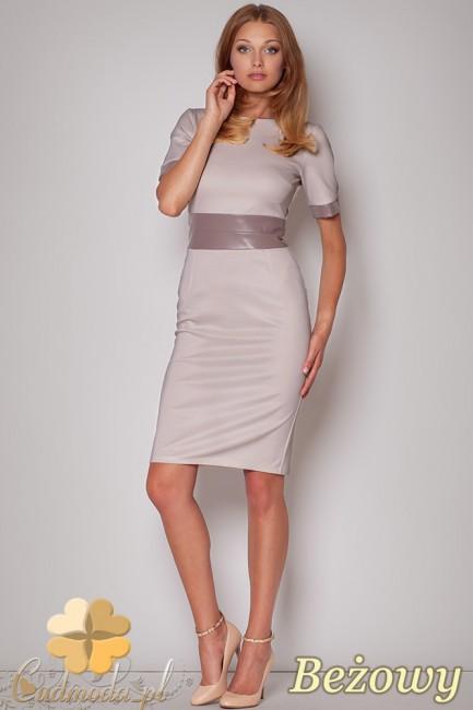 FIGL M204 Sukienka ołówkowa przed kolano pas ze skóry - beżowa