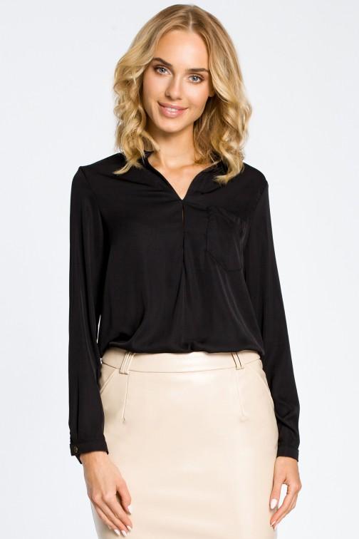 CM0661 Bluzka koszulowa ze stójka i kieszonką - czarna