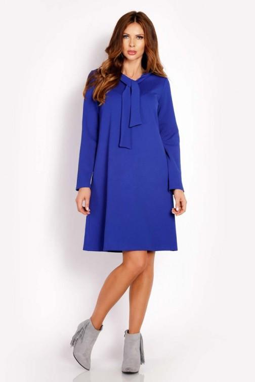 CM3289 Luźna sukienka z wiązaniem przy szyi - niebieska