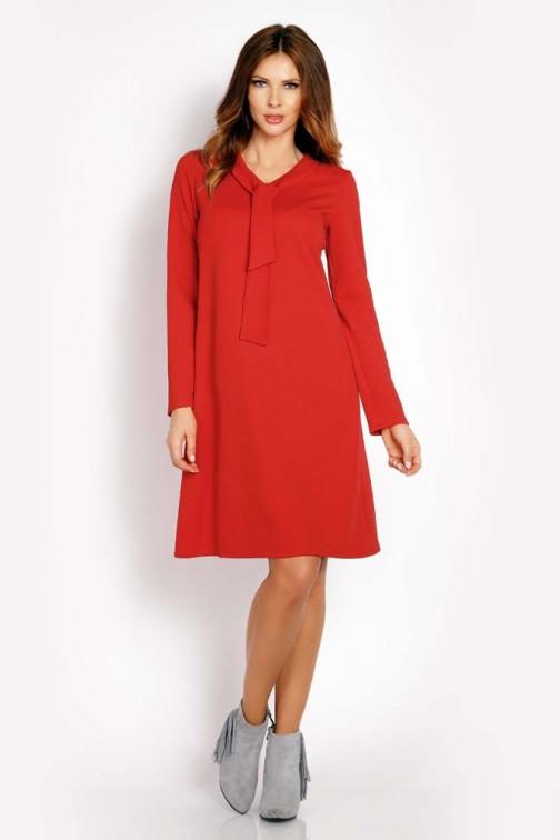 CM3289 Luźna sukienka z wiązaniem przy szyi - czerwona
