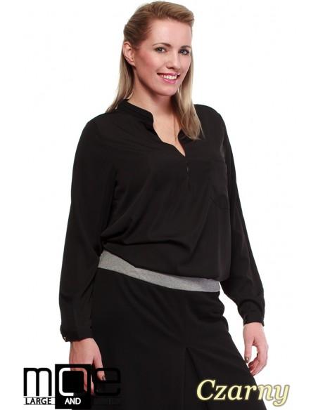 Bluzka koszulowa ze stójka i kieszonką r.44 - 52 - czarna