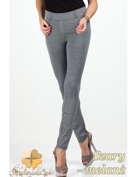 Włoskie elastyczne legginsy spodnie NILIT® SOFTEX - szary melanż OUTLET