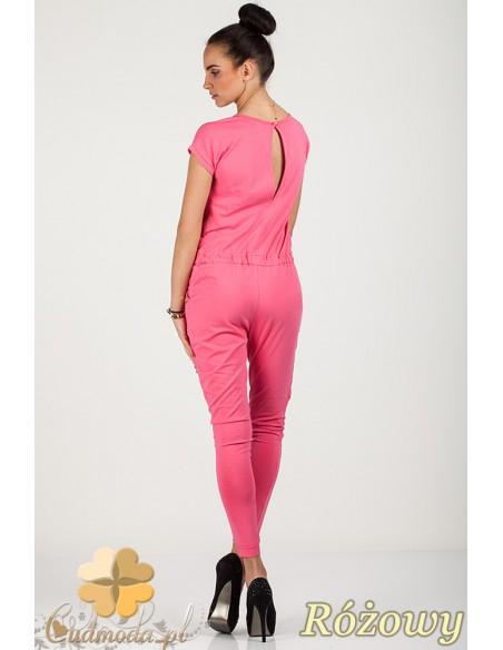 Kombinezon spodnium z ozdobnym rozcięciem na plecach - różowy