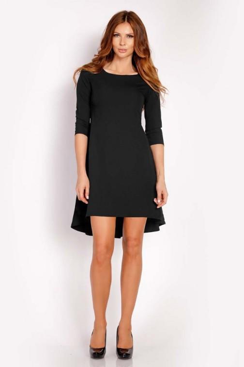 CM3292 Trapezowa sukienka z rękawem 3/4 - czarna